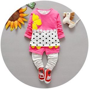 Picture of Flower Long Sleeve Polka Dots Tee and Pants