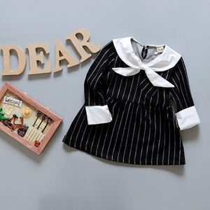 Picture of Long Sleeved Stripe Girl Dress with ribbon