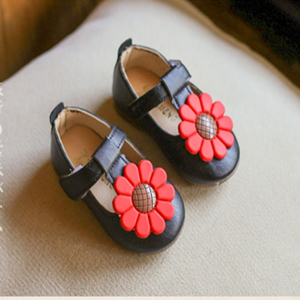 Picture of Black Baby Toddler Girls Cute Flower Shoe