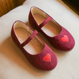 Picture of Adorable Maroon Love Printed Sandal Shoes for Girls