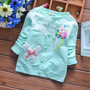 Picture of Pretty Cotton Green Flower Long Sleeve Girl Sweater
