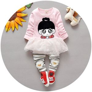 Picture of Cute Little Girl Lace Tee with Stripe Pants Girl Set