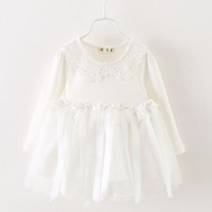 Picture of Girl White Lace Longsleeve Dress with Tassel