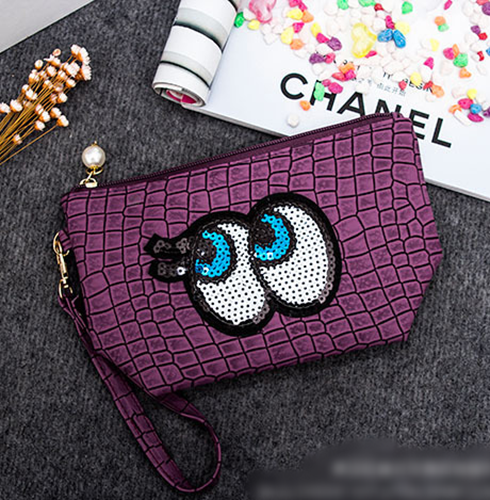 Picture of Adorable Big Eyes Sequins Portable Makeup bag