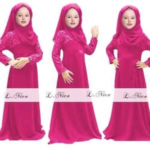 Picture of Muslimah Fashion Jubah Girl Set with Scarf (Small)
