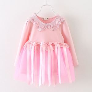 Picture of Girl Soft Pink Lace Longsleeve Dress with Tassel