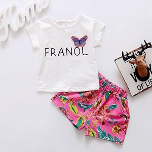 Picture of Butterfly Short Sleeve Tee and Pants Girl Set