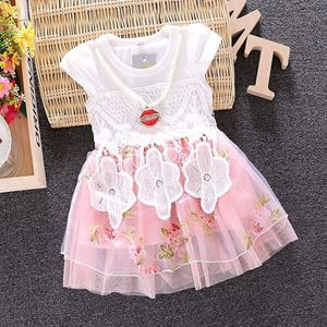 Picture of Peach Baby Girl Flower Sleeve Lace Dress