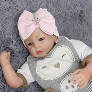 Picture of Adorable Big Ribbon with Stripes Baby Girl Hat