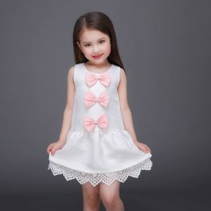 Picture of Elegant White Bow Lace Trim Sleeveless Dress for Girl