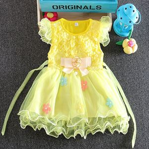 Picture of Sleeved Yellow Tulle Dress with Flower Ribbon