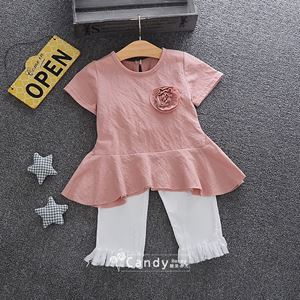 Picture of Short Sleeve and Pants Girl Set