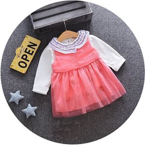 Picture of Sweet Faux Long Sleeve 2-piece Dress for Baby Girl