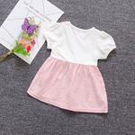 Picture of Bowknot Soft Pink with White Sleeved Dress for Baby