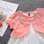 Picture of Sweet Peach Floral Sleeved Dress for Baby