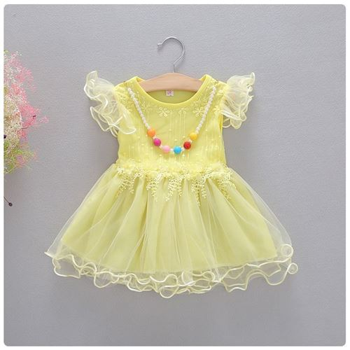 Picture of Lace Yellow Flower Tulle Dress with Necklace