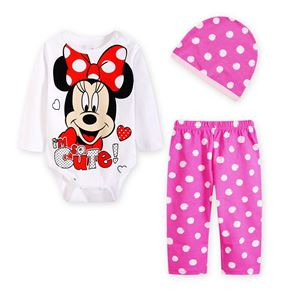 Picture of Cute Minnie Baby Romper & Pant With Hat