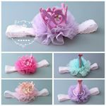 Picture of Sweet Baby Toddler Girl Headband with Lace and Crown
