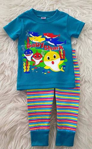 Picture of Cute Baby Shark Top with Stripe Pants Set