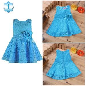 Picture of Elegant Floral Accented A-line Lace Dress for Girls