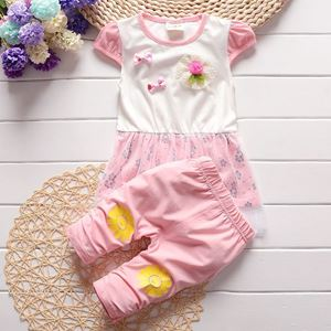 Picture of Short Sleeve Flower Girl Cotton Two-Piece Set