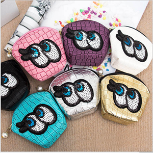 Picture of Adorable Big Eyes Sequins Round Coin Purse