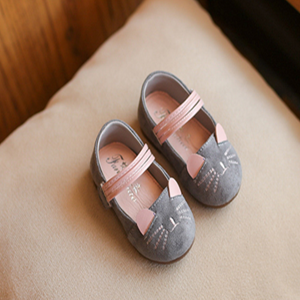 Picture of Grey Baby Toddler Girls Cute Kitten Shoe Sandal