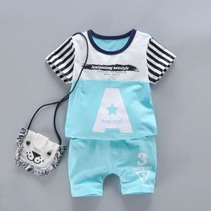 Picture of Two-Pieces Set Light Blue Letters Short Sleeve and Pants