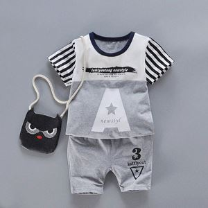Picture of Two-Pieces Set Grey Letters Short Sleeve and Pants
