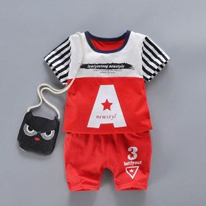 Picture of Two-Pieces Set Red Letters Short Sleeve and Pants