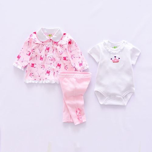 Picture of 3-piece Lovely Crown Printed Romper Suit,Coat and Pants Set