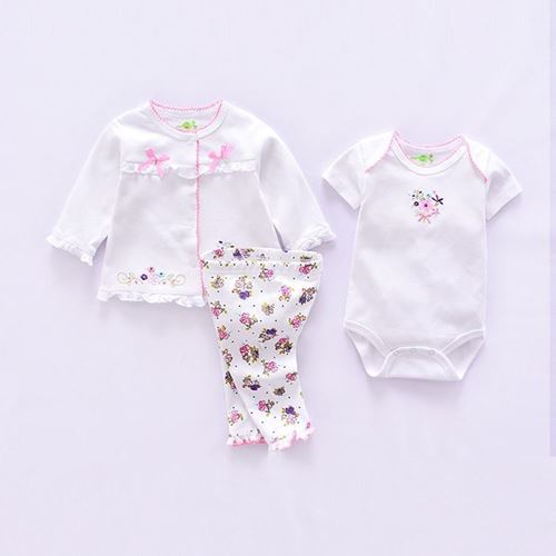 Picture of 3-piece Lovely Floral Printed Romper Suit,Coat and Pants Set