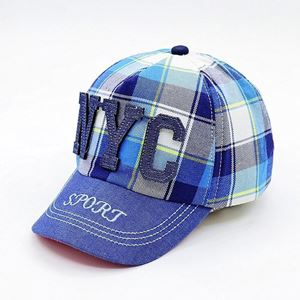 Picture of Korean Style Kids Baseball Cap Plaid Denim