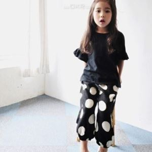 Picture of Korea Stylist Girls Short Sleeve Shirt And Dot Pants Two-Piece