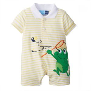 Picture of Collar Frog Short Sleeve Stripe Baby Romper
