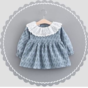Picture of Printed Flower Plant Baby Girl Longsleeve Dress