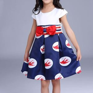 Picture of Elegant Sleeved Dress with Bowknot for Girls