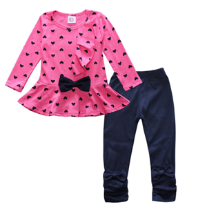 Picture of Love Heart Pattern Long-Sleeved And Leggings Two-Pieces Girl Clothing Set