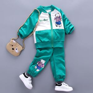Picture of Green Boy Bear Long Sleeve Sweater and Pants Clothing Set