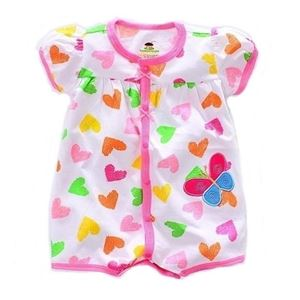 Picture of Adorable Short Sleeve Butterfly Love Printed Baby Romper