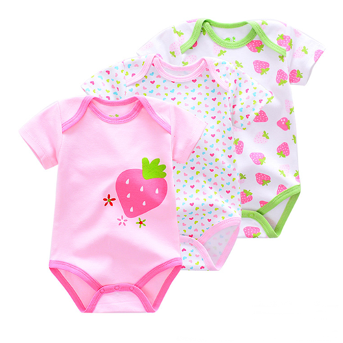 Picture of 3-piece Strawberry Printed Baby Romper Suit