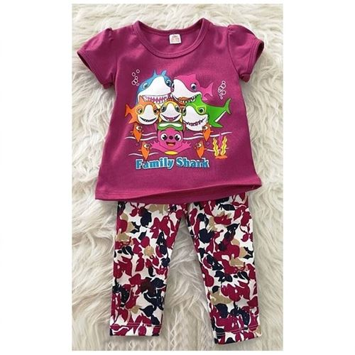 Picture of Baby Shark Tee with Floral Pants Girl Set