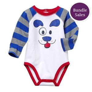Picture of Cute Doggy with Stripe Long Sleeve Baby Romper