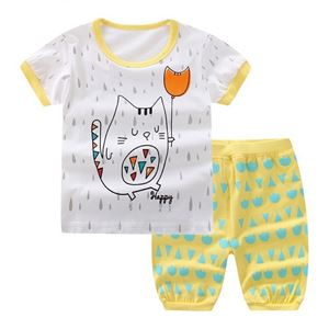 Picture of Two-Piece Kitten Printed Short Sleeve Casual Wear Clothing Set