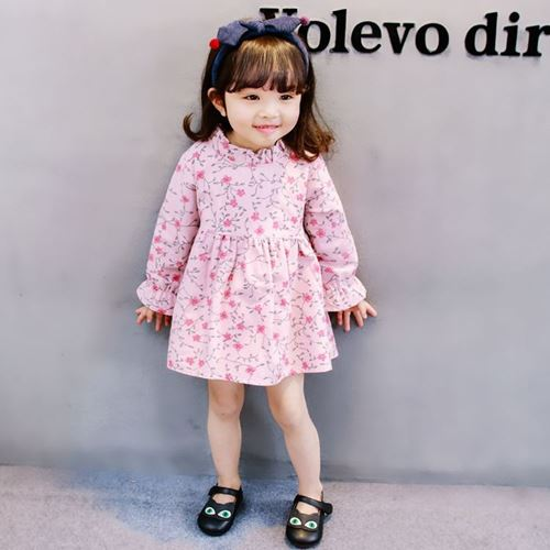 Picture of Korea Stylist Floral Long-sleeves Girl Mini Dress