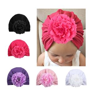 Picture of Stylish Assorted Color Big Flower Pleated Turban Baby Girl Hat