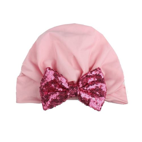Picture of Stylish Assorted Color Big Ribbon Pleated Turban Baby Girl Hat