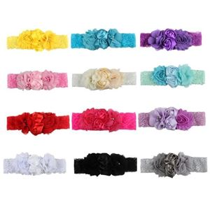 Picture of Stylish Assorted Color Flower Lace Headband For Baby Girl