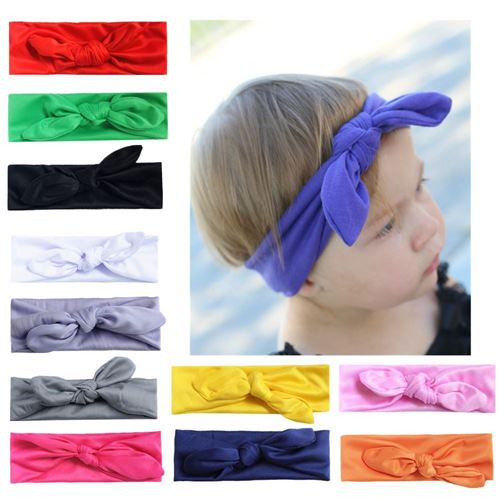 Picture of Stylish Assorted Color Pleated Rabbit Headband For Baby Girl