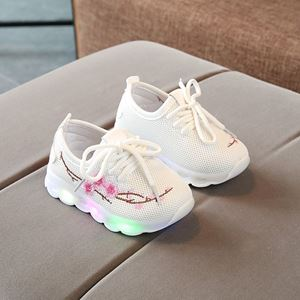 Picture of Fashionable Embroidery White LED Light Mesh Sports Shoes
